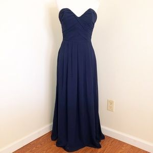 Hayley Paige Occasions Navy Strapless A-Line Gown